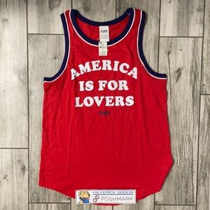 """NWT PINK """"America Is For Lovers"""" Tank Top"""